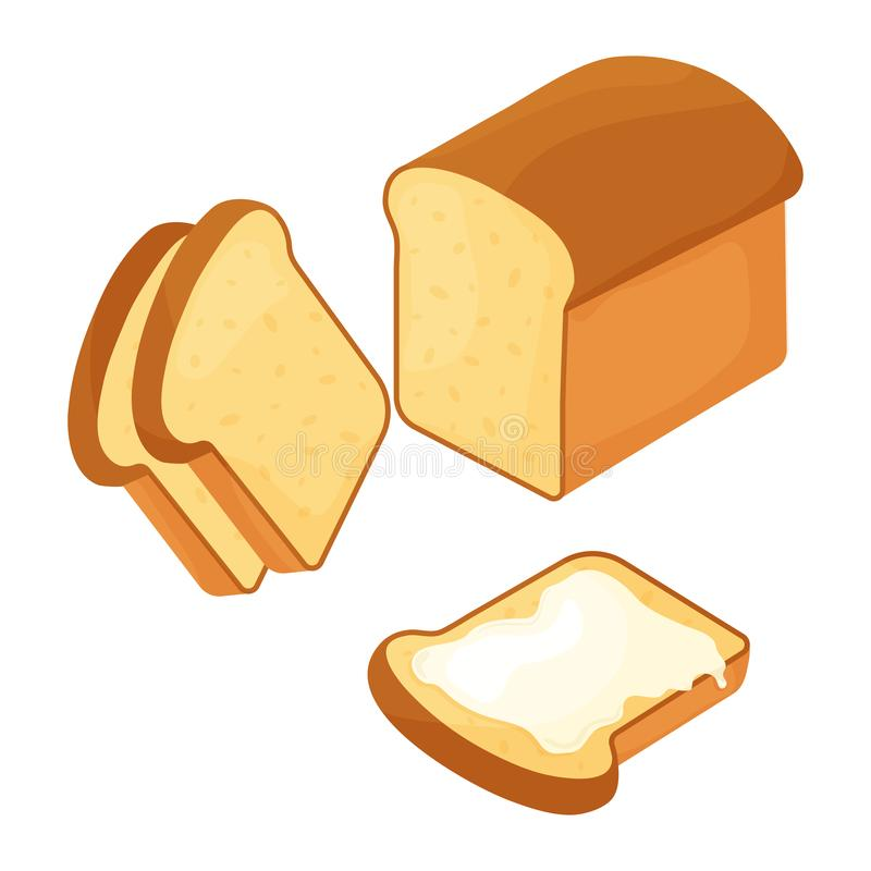 Le blé a découpé le pain et la tranche en tranches de pain avec du beurre Illustration de vecteur illustration libre de droits