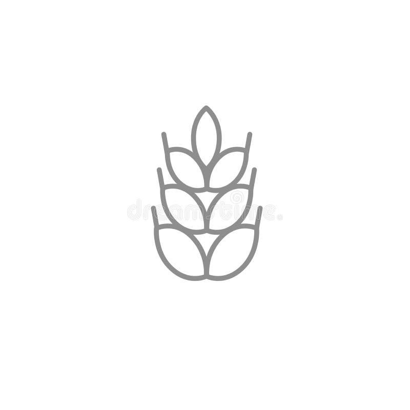 Le blé mince amincissent l'icône Décrivez l'agriculture et le symbole de vecteur de boulangerie d'isolement sur le fond blanc illustration de vecteur