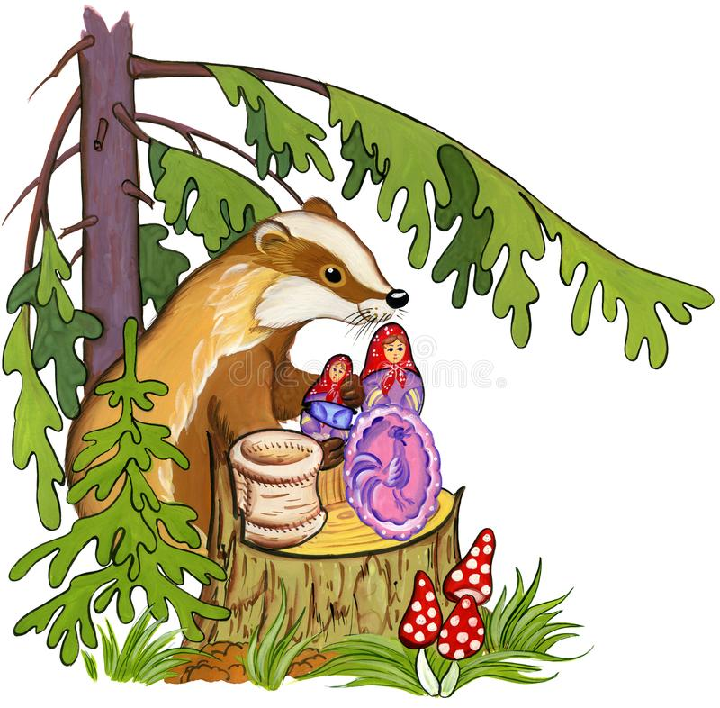 Le blaireau donne des cadeaux sur une souche sous un sapin dans la forêt, illustration d'aquarelle illustration libre de droits