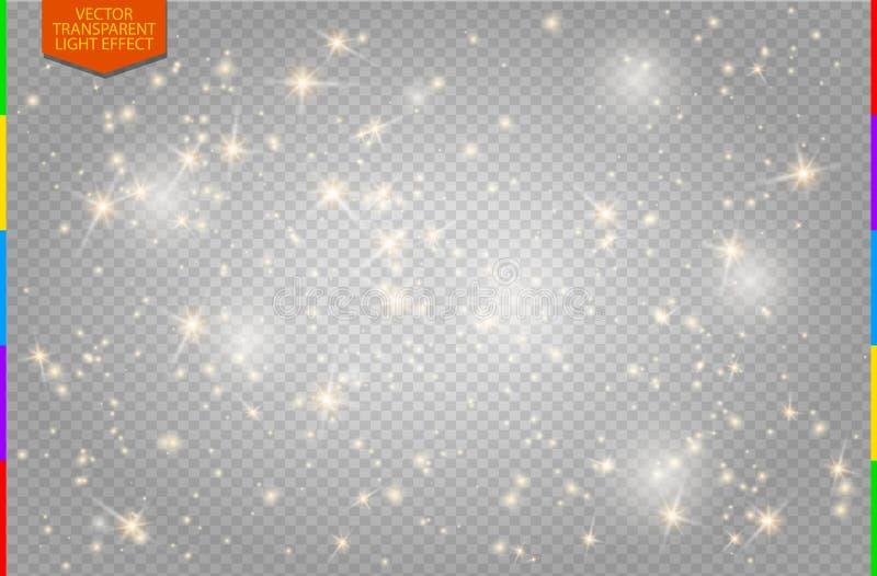 Le blanc étincelle et l'effet de la lumière spécial de scintillement d'or d'étoiles (le transparent dans le format supplémentaire illustration de vecteur