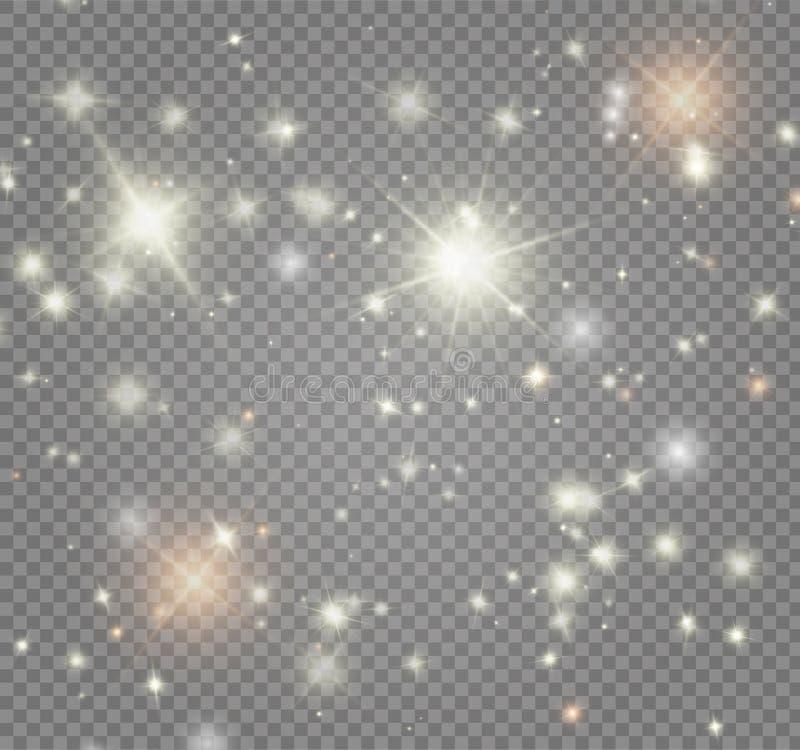 Le blanc étincelle et l'effet de la lumière spécial de scintillement d'or d'étoiles La magie miroite sur le fond transparent illustration de vecteur
