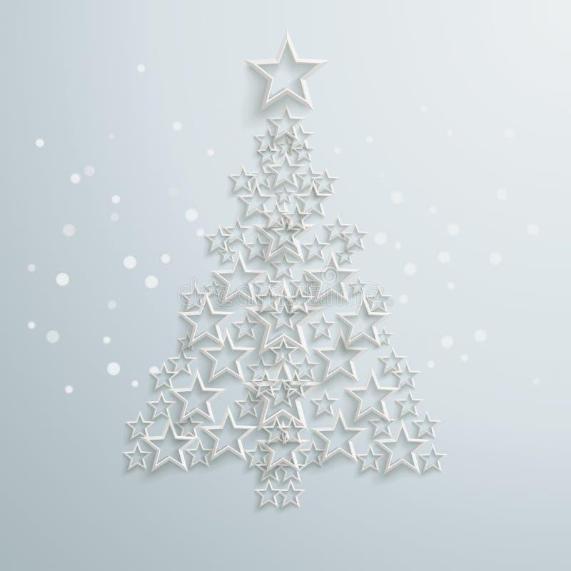 Le blanc d'arbre de Noël tient le premier rôle PiAd illustration stock