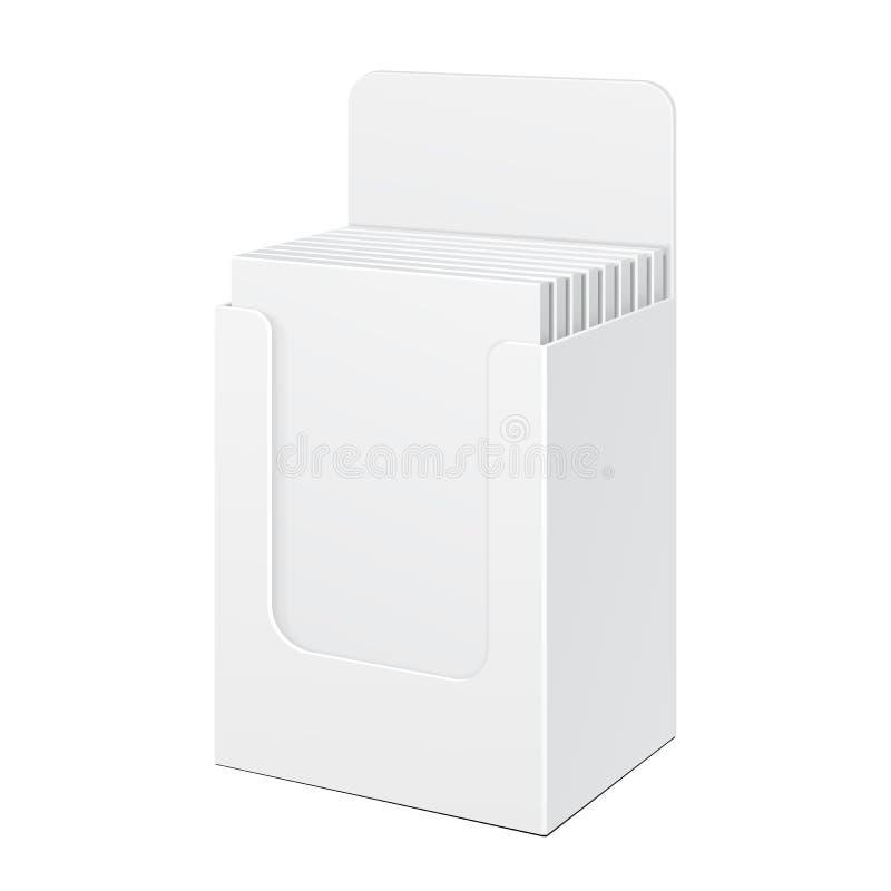 Le blanc blanc de carton de la position POI de boîte de support d'affichage a rempli Produits sur le fond blanc d'isolement Maque illustration libre de droits