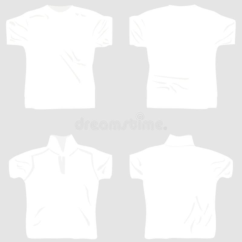 Le blanc de conception de T-shirt a placé comprenant hommes-femmes illustration de vecteur