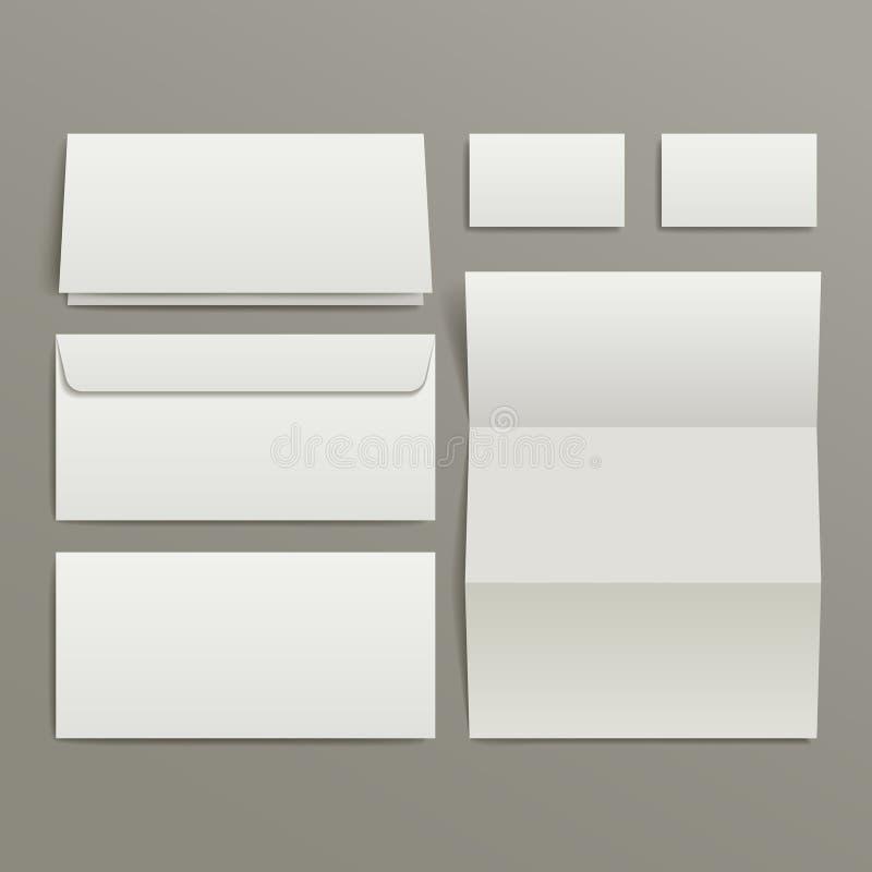 Le blanc enveloppe la carte de visite professionnelle et le dossier de visite illustration stock