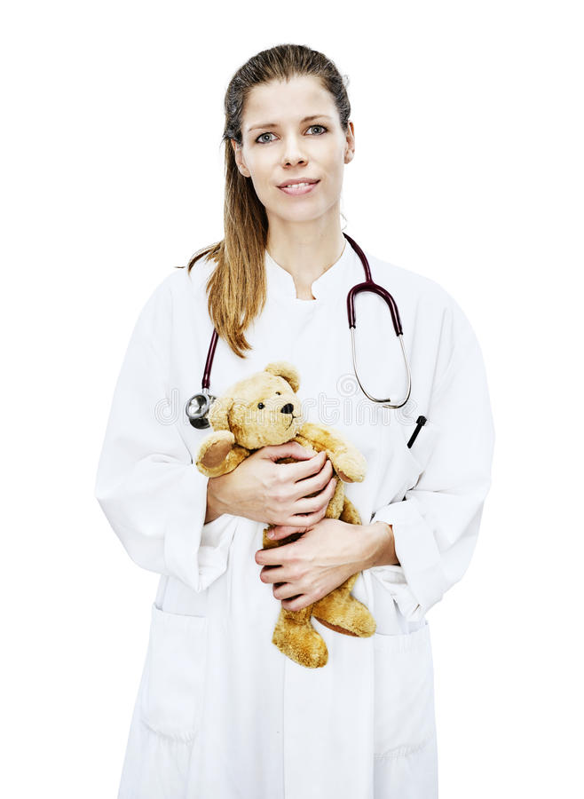 Le blanc frontal de clinique de portrait de médecins a coupé l'ours de nounours photo stock