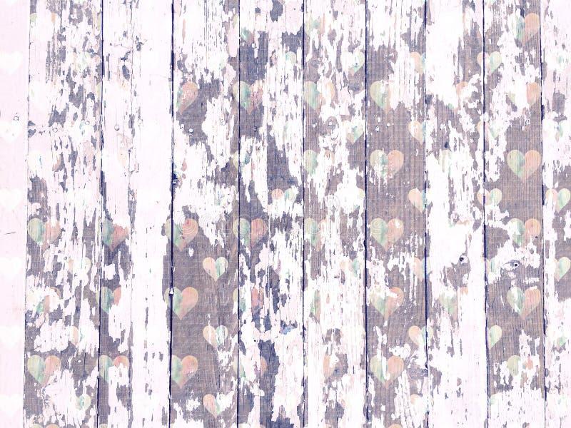 Le blanc minable de texture de fibre de bois a lavé avec le modèle affligé de coeurs photo stock