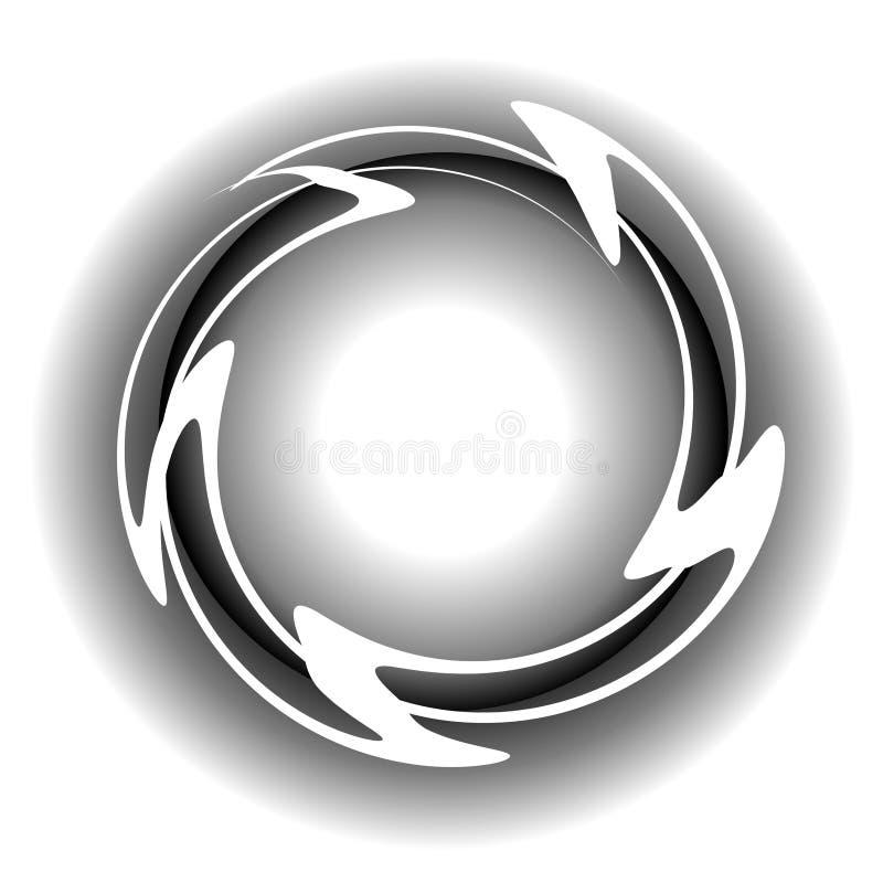 Le blanc ondule le logo de Web de cercle illustration de vecteur
