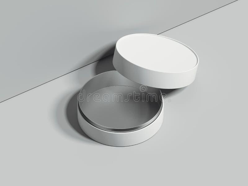 Le blanc ouvert rond la boîte se tient sur le plancher gris rendu 3d illustration libre de droits