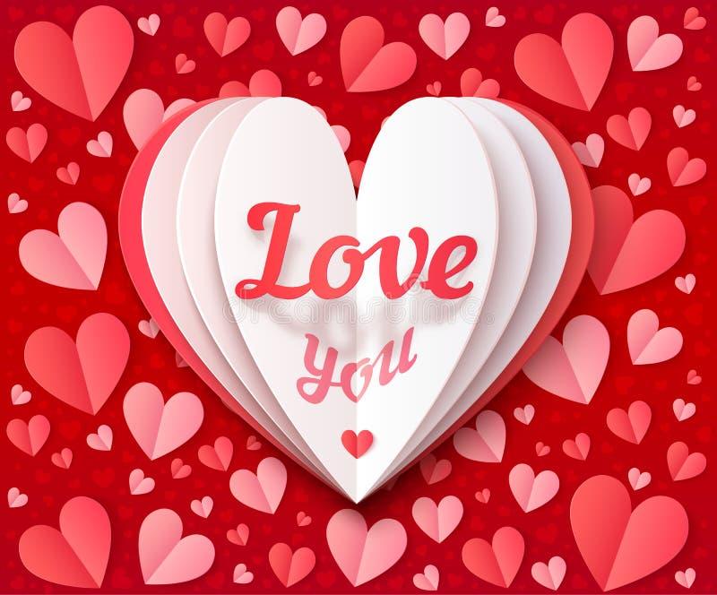 Le blanc a plié le grand coeur de papier avec amour de signe vous sur les coeurs rouges et roses fond, carte de voeux de jour de  illustration de vecteur