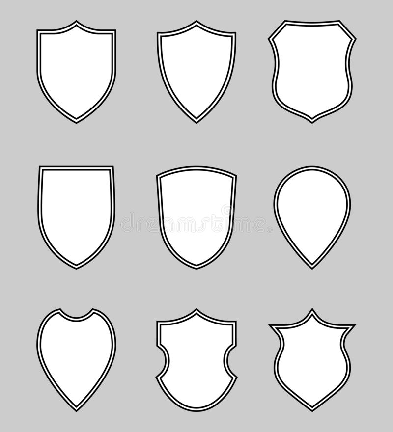 Le blanc prot?ge les ic?nes r?gl?es graphiques comme symbole de protection illustration libre de droits