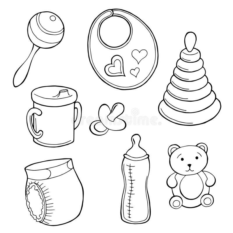 Le blanc réglé de noir de l'industrie graphique de bébé a isolé l'illustration illustration stock