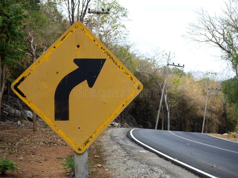 Le blanc signent dedans les routes rurales en Thaïlande images libres de droits
