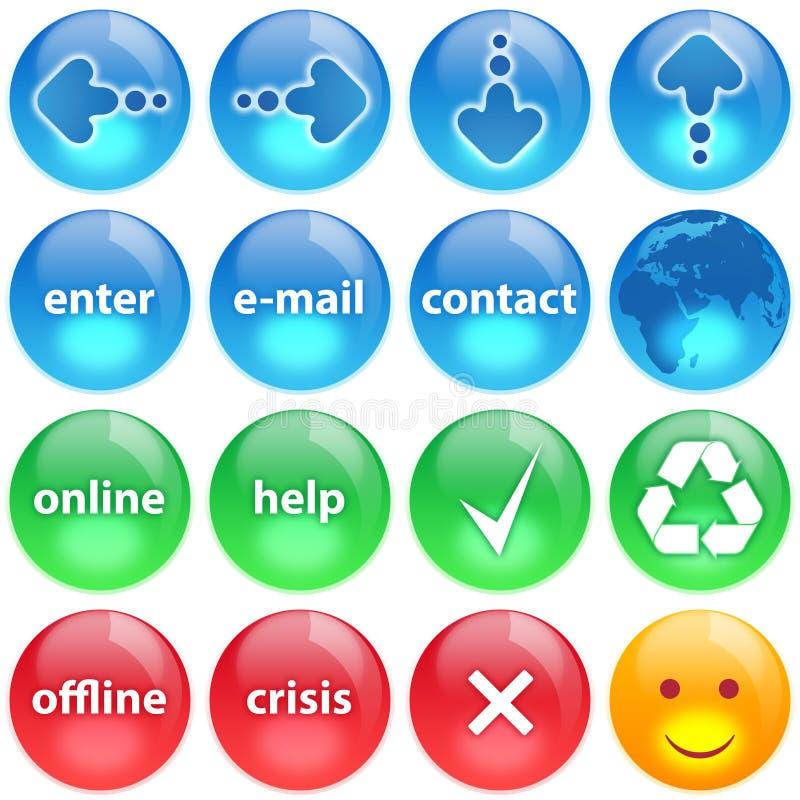 le bleu boutonne le positionnement vert de rouge de ramassage illustration stock