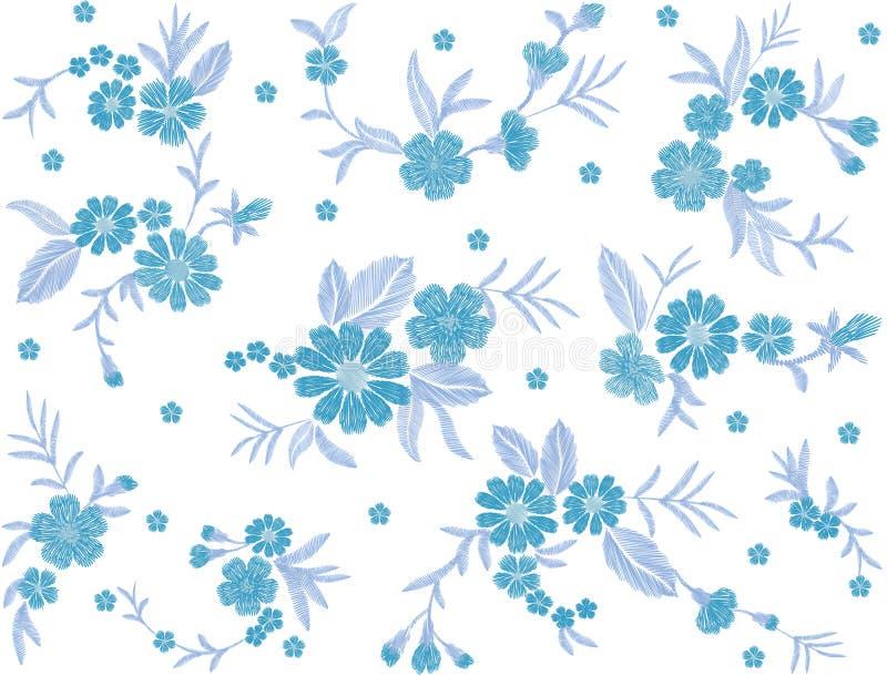 Le bleu a brodé la broderie ethnique traditionnelle de vintage de modèle de fleur de champ de mode de correction d'ornement sans  illustration de vecteur