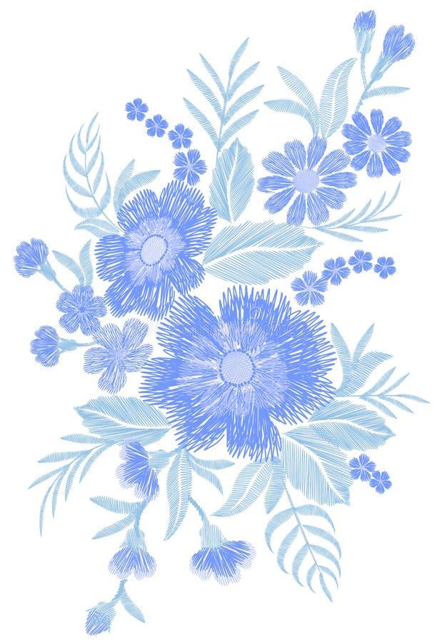 Le bleu a brodé le vecteur ethnique traditionnel de broderie de vintage d'ornement de tissu de correction de mode de champ de bou illustration de vecteur