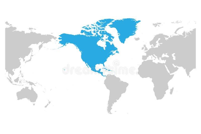 Le bleu continent de l'Amérique du Nord marqué en silhouette grise de l'Amérique a centré la carte du monde Illustration plate si illustration de vecteur