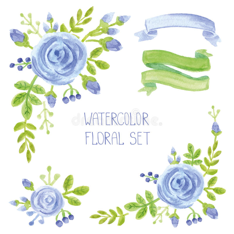 Le bleu d'aquarelle fleurit le bouquet, ensemble de décor de coins illustration libre de droits