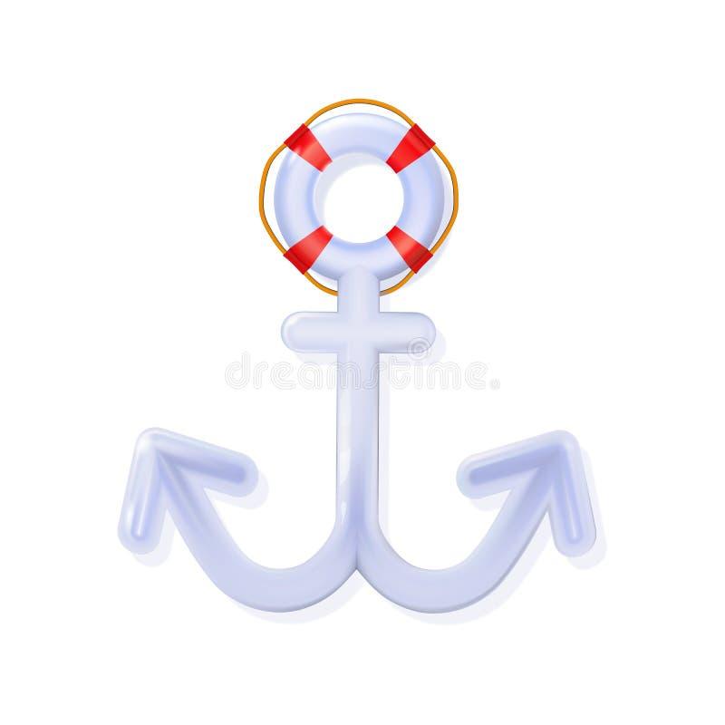 Le bleu 3d brillant d'ancre nautique blanche, a arrondi le jouet réaliste en plastique Icône d'isolement par vecteur moderne de d illustration libre de droits