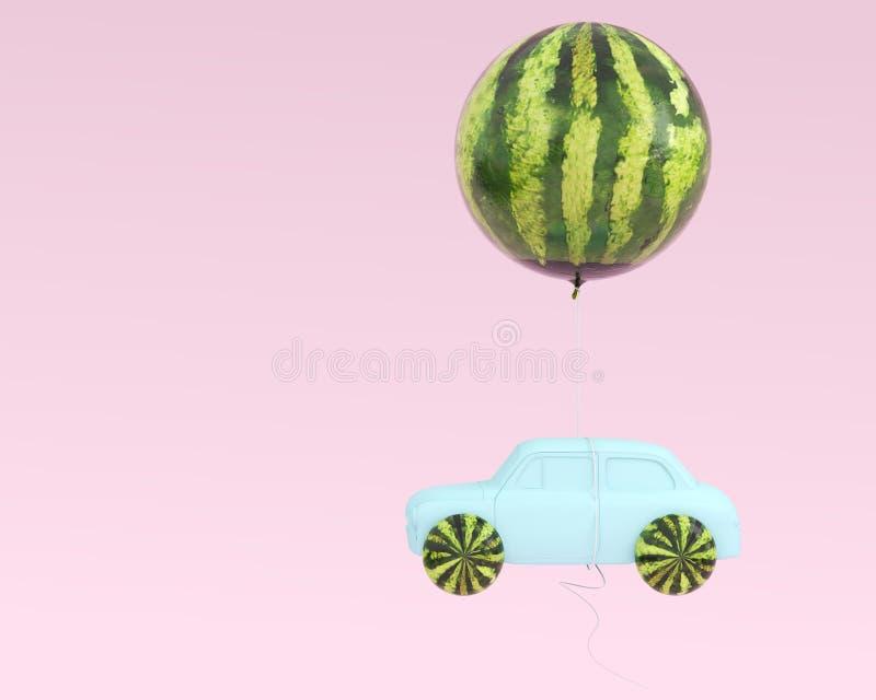 Le bleu de roue et de voiture de disposition de pastèque avec la pastèque montent en ballon le flo photos stock