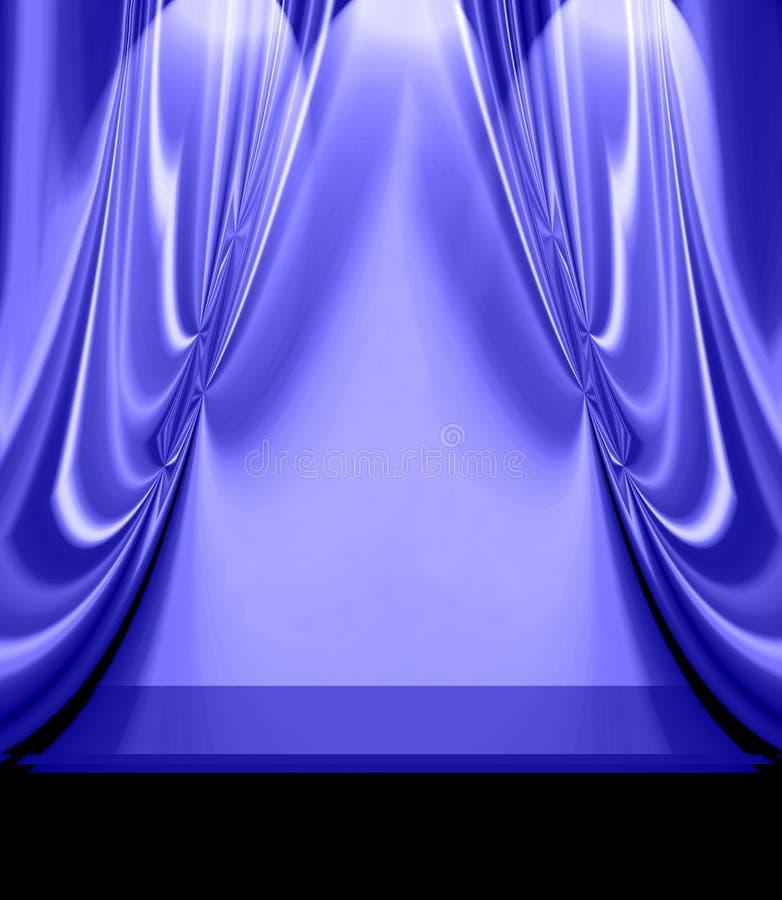Le bleu drape sur l'étape vide illustration libre de droits