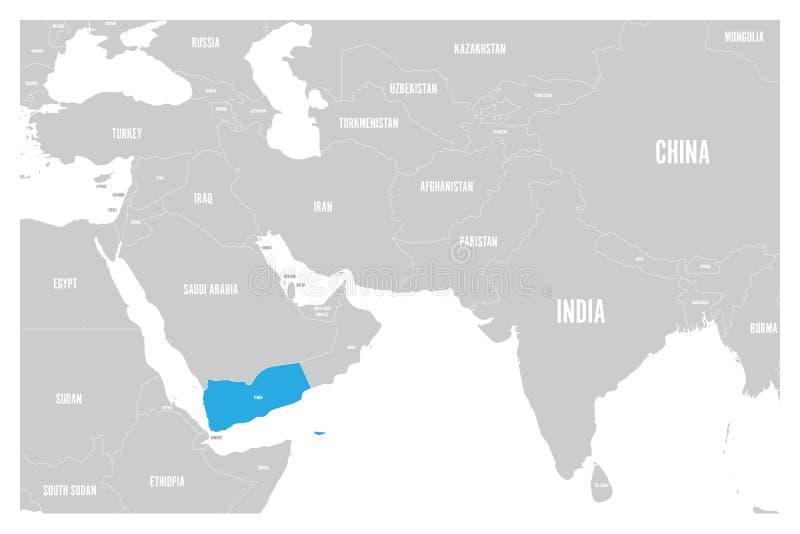 Le bleu du Yémen marqué dans la carte politique du vecteur plat simple de l'Asie du sud et de Moyen-Orient tracent illustration libre de droits