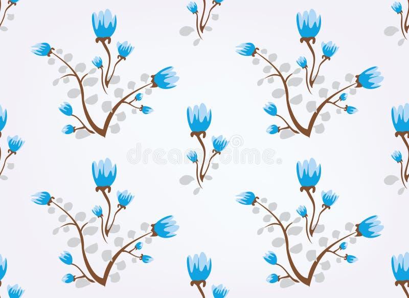Le bleu fleurit le fond sans joint de cru illustration libre de droits