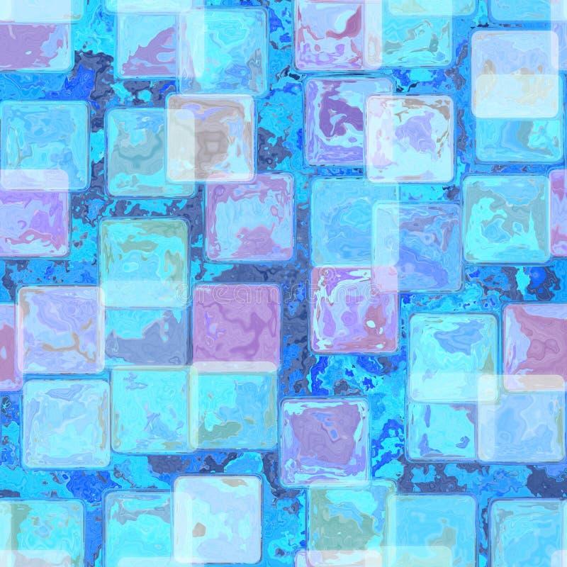 Le bleu lumineux a souillé le fond de tuile avec le cadre de parchemin à la frontière avec la texture de vintage illustration de vecteur