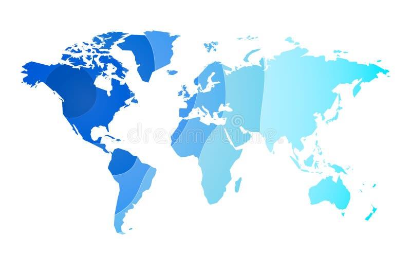 Le bleu ondule le fond de carte du monde illustration de vecteur