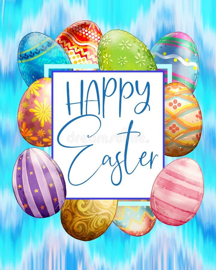 Le bleu a peint le type heureux cadre de Pâques d'oeufs illustration de vecteur
