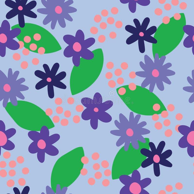Le bleu plat de couleur de vecteur fleurit le fond sans couture de modèle illustration stock