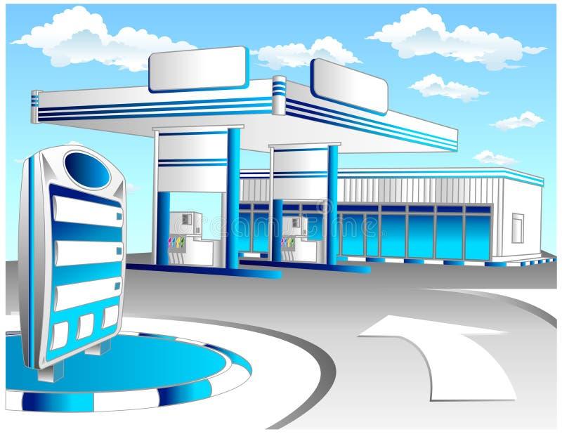 Le bleu réapprovisionnent en combustible la gare illustration de vecteur