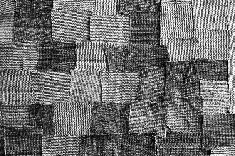 Le bleu texturisé rayé a employé le fond de toile de vintage de denim sale de jeans, morceau de tissu photo stock