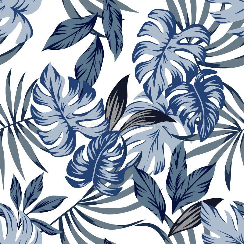 Le bleu tropical part du fond sans couture illustration libre de droits