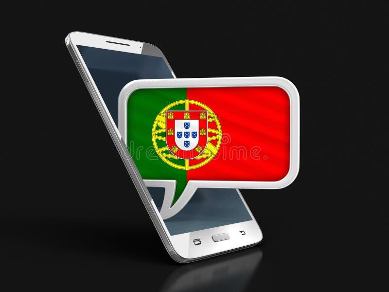 Le bloc abstrait de cube en couleur avec Bitcoin signTouchscreen le smartphone et la bulle de la parole avec le drapeau portugais illustration libre de droits