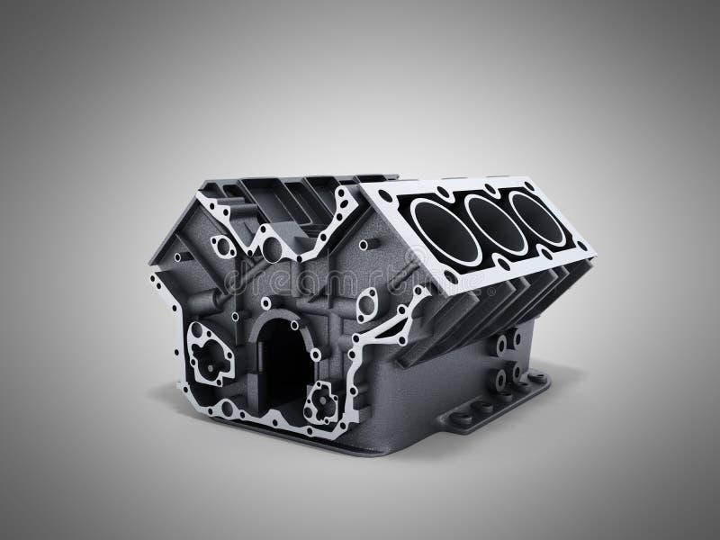 le bloc-cylindres de la voiture avec v6 le moteur 3d rendent sur un backg grwy illustration stock