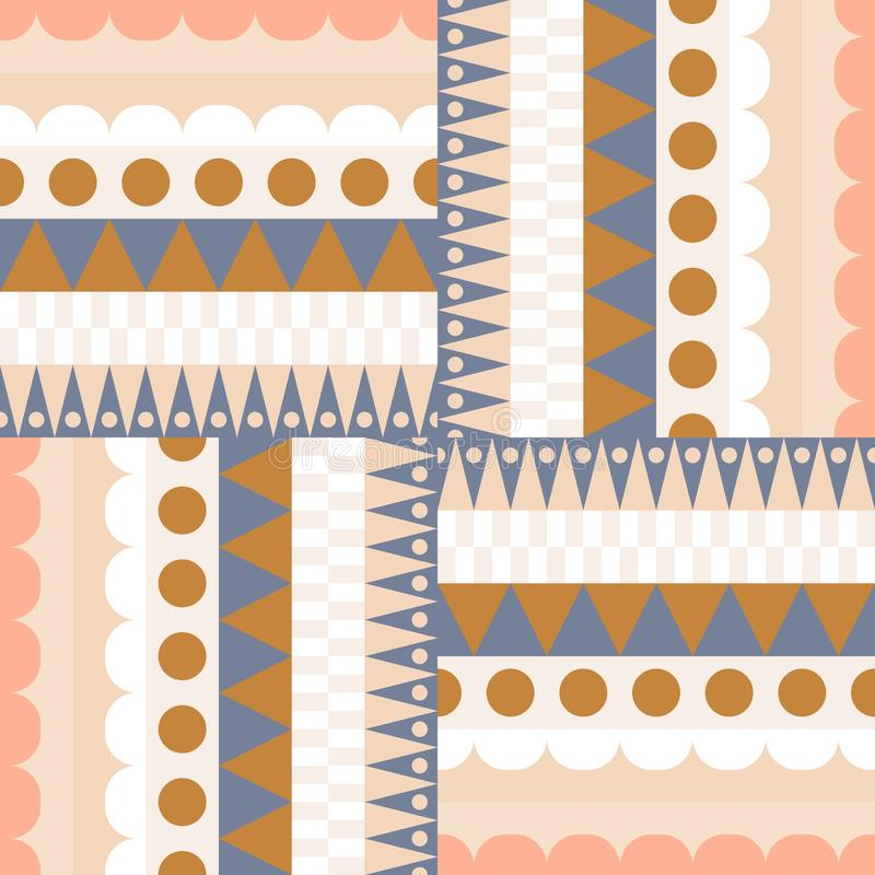 Le bloc ethnique de couleur rame le modèle sans couture de vecteur illustration de vecteur