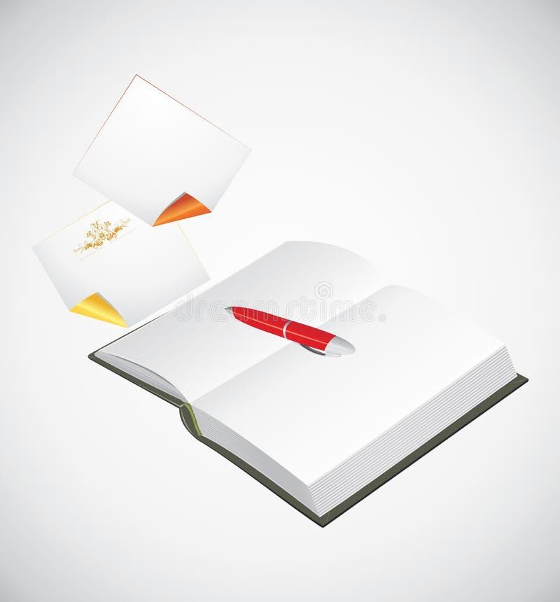 Le bloc-notes ouvert, ballpen et a enroulé des pages illustration libre de droits
