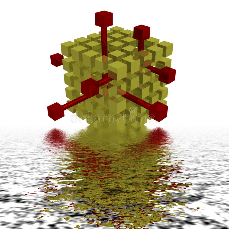 Le bloc rouge sortant de beaucoup de noirs d'or illustration de vecteur
