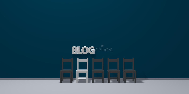 Le blog de mot et une rangée des chaises illustration stock