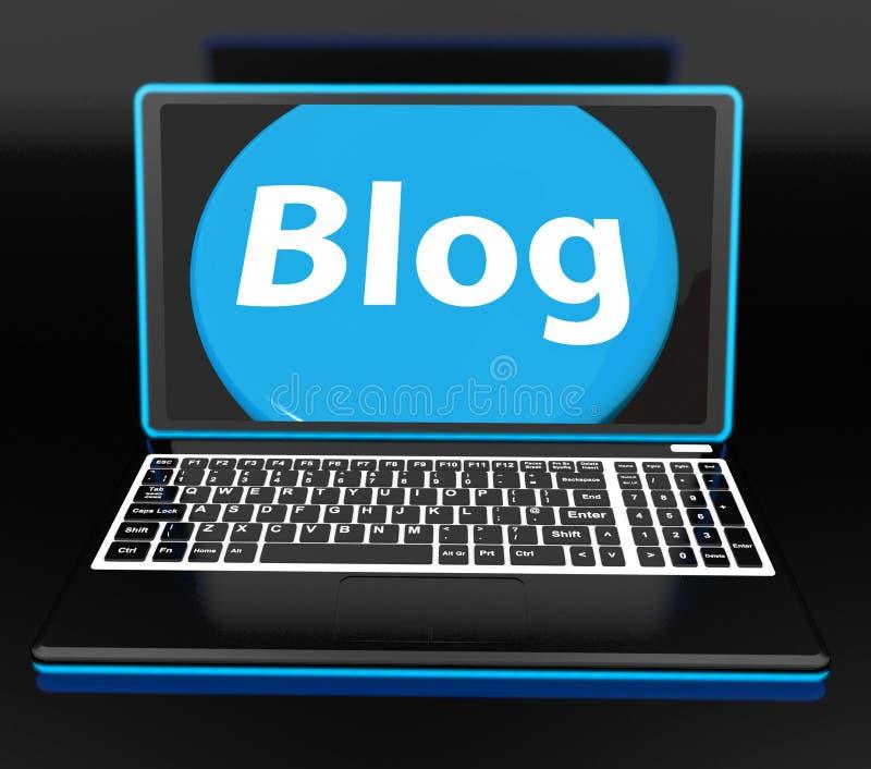 Le blog sur l'ordinateur portable montre Blogging de Web ou site Web de Weblog illustration stock