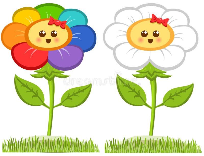 Le blomma för tecknad film, lycklig tusensköna som isoleras på vit också vektor för coreldrawillustration vektor illustrationer