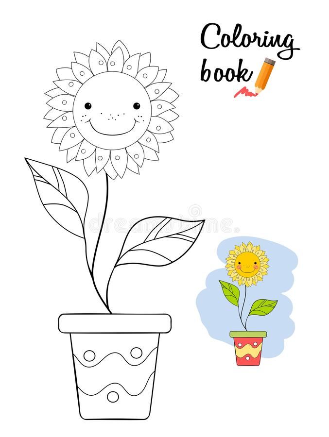 Le blomman i en kruka Sida för färgläggningbok vektor illustrationer