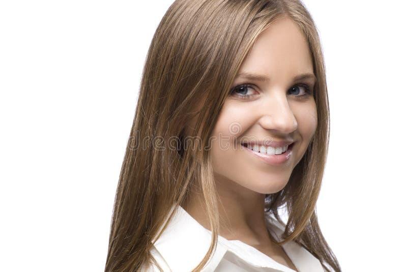 Le blond kvinna Headshot arkivfoton