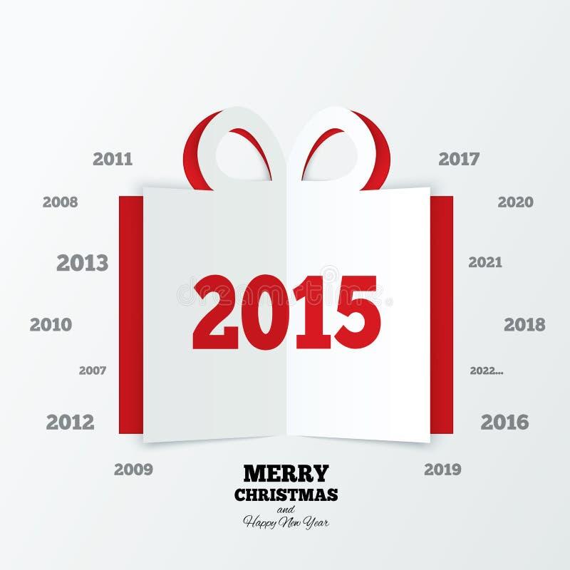Le boîte-cadeau de Noël a coupé le papier An neuf 2015 illustration libre de droits