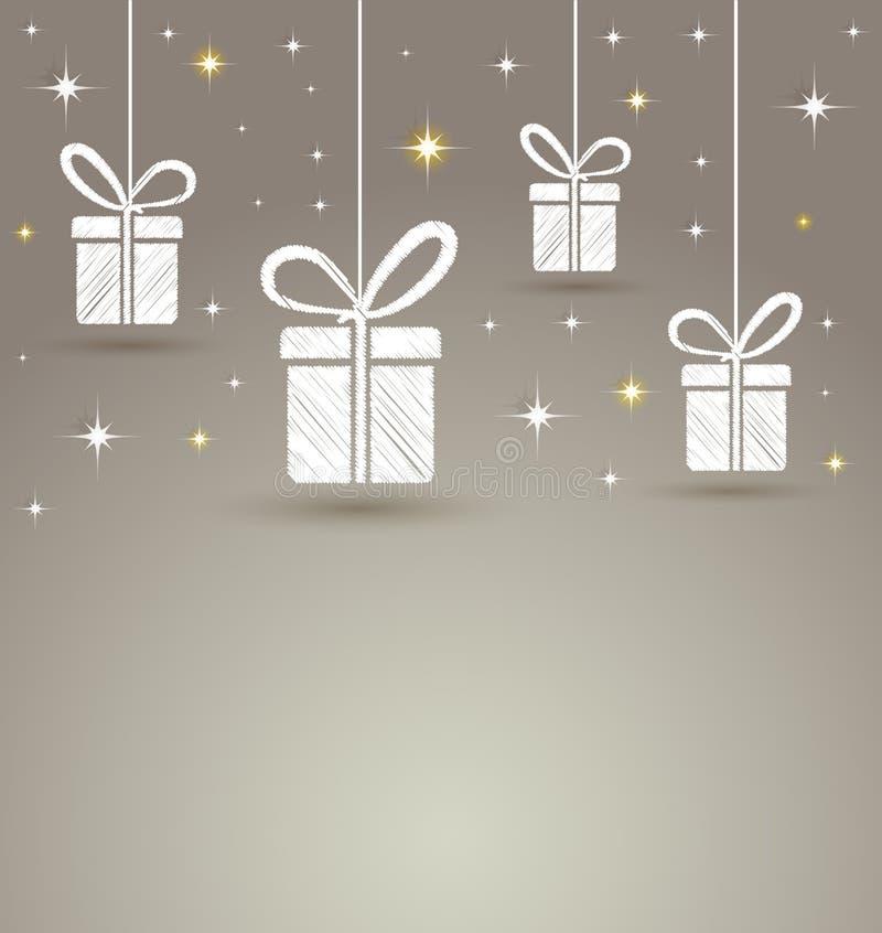 Le boîte-cadeau de papier avec l'étoile allume le fond illustration libre de droits