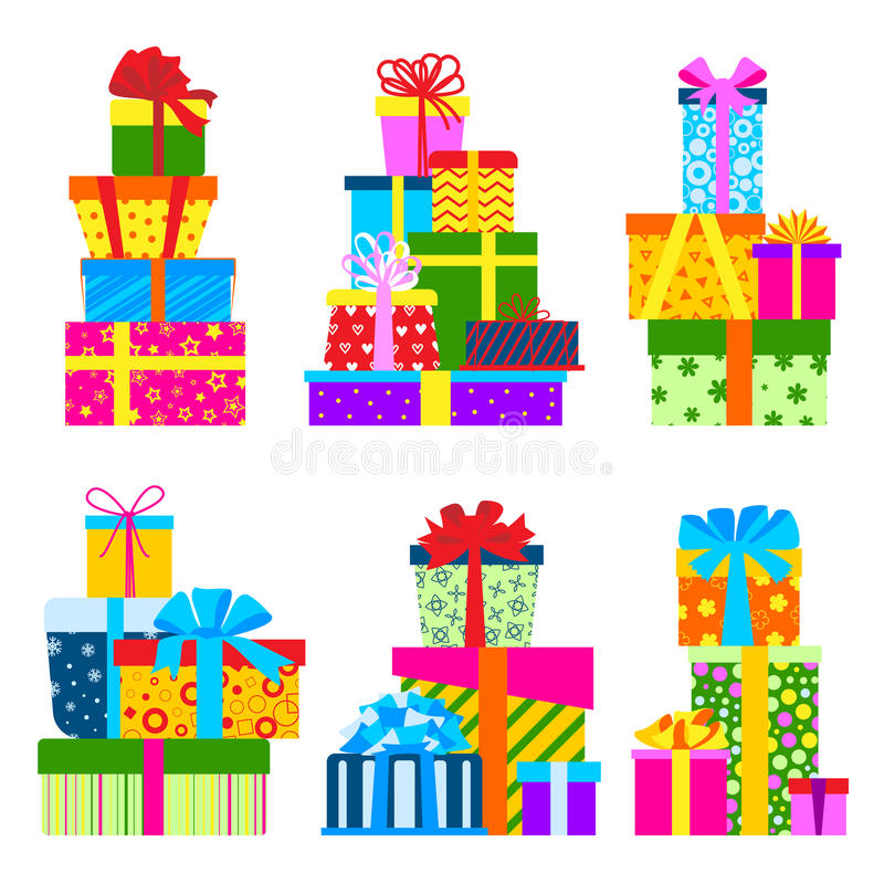 Le boîte-cadeau emballe l'illustration de vecteur d'isolement par anniversaire d'objet de salutation d'événement de composition illustration de vecteur