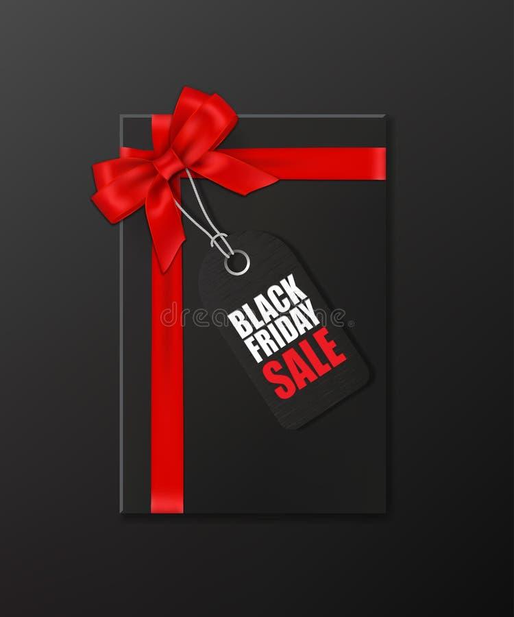 Le boîte-cadeau noir avec le ruban et l'arc rouges et l'étiquette avec la vente de Black Friday textotent sur le fond noir Illust illustration de vecteur
