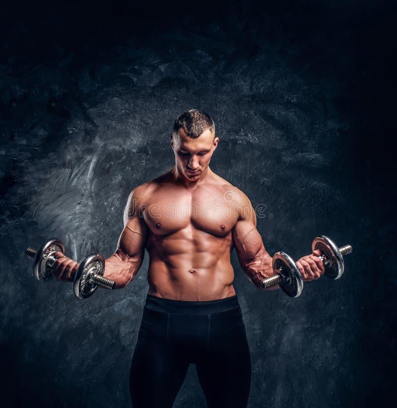 Le bodybuilder attirant fort fait des exercices avec des haltères photographie stock libre de droits