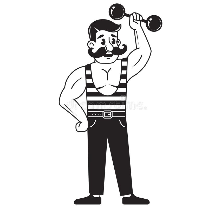 Le bodybuilder masculin soul?ve l'halt?re jeu des sports Levage de poids Dessin au trait sur le fond blanc Illustration de noir e illustration libre de droits